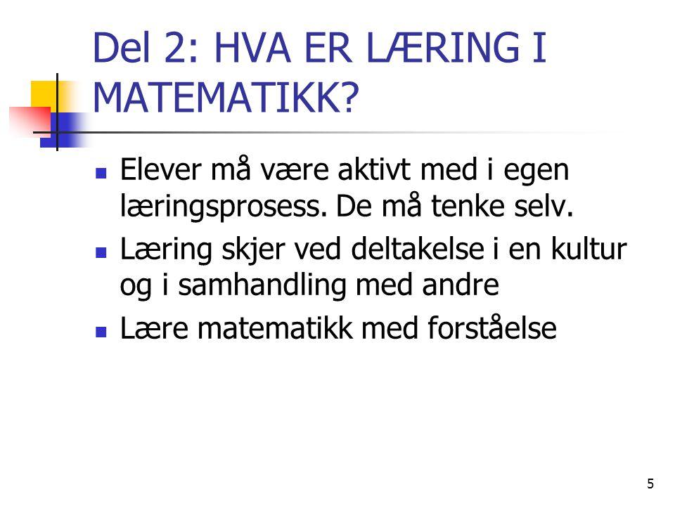 Del 2: HVA ER LÆRING I MATEMATIKK