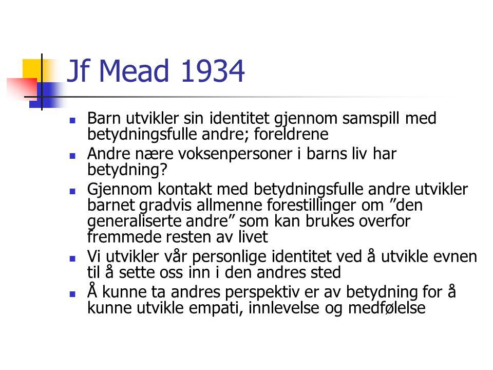 Jf Mead 1934 Barn utvikler sin identitet gjennom samspill med betydningsfulle andre; foreldrene.