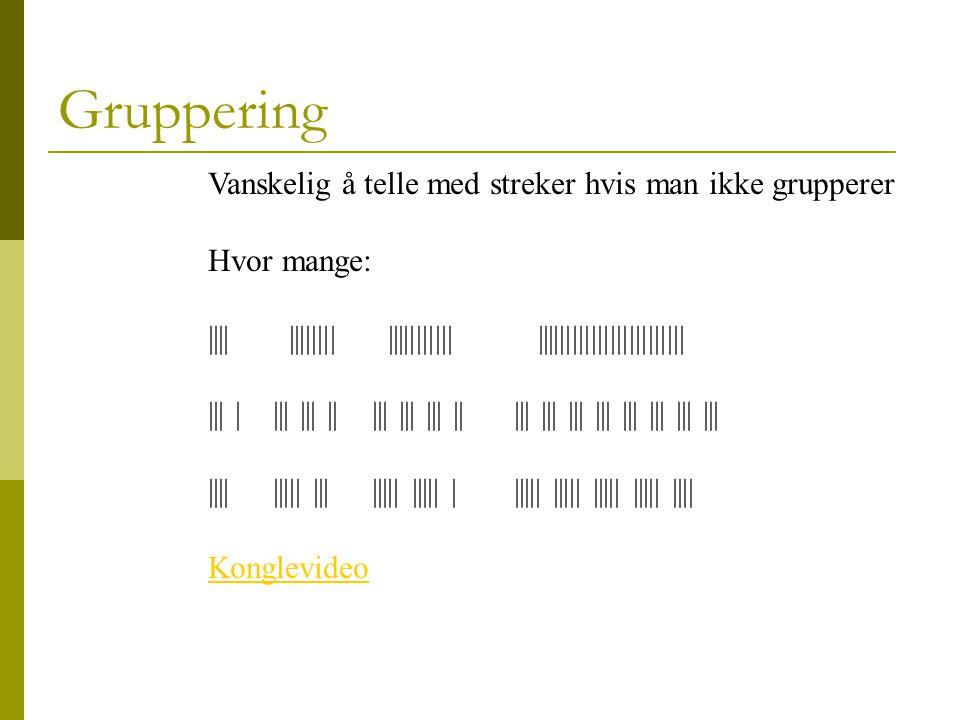 Gruppering Vanskelig å telle med streker hvis man ikke grupperer