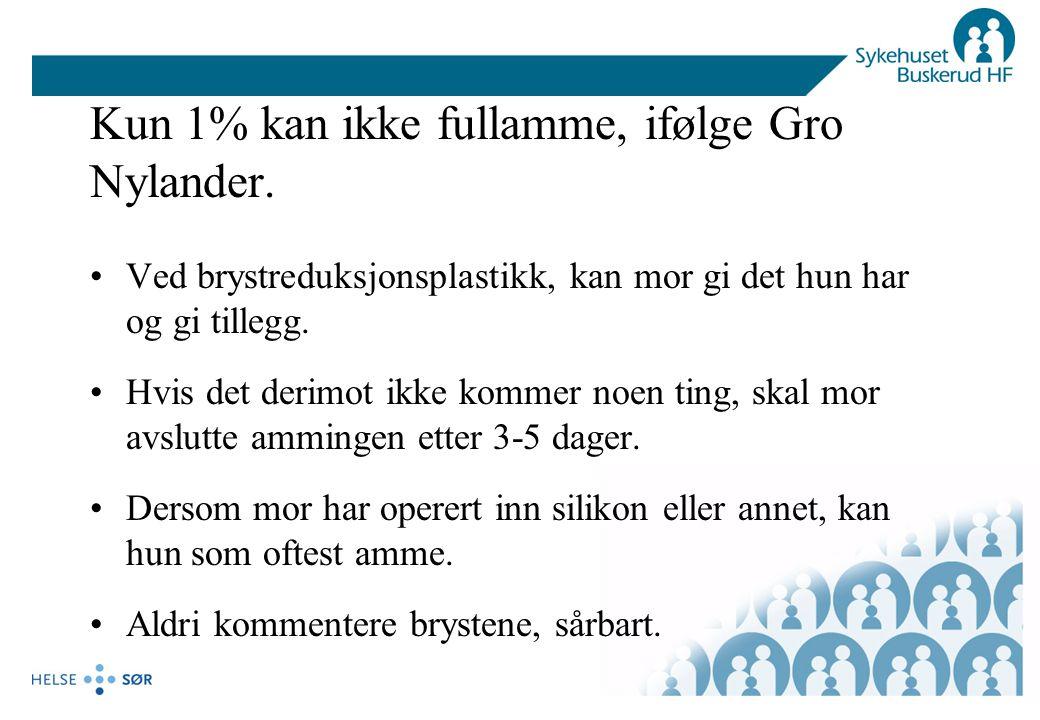 Kun 1% kan ikke fullamme, ifølge Gro Nylander.
