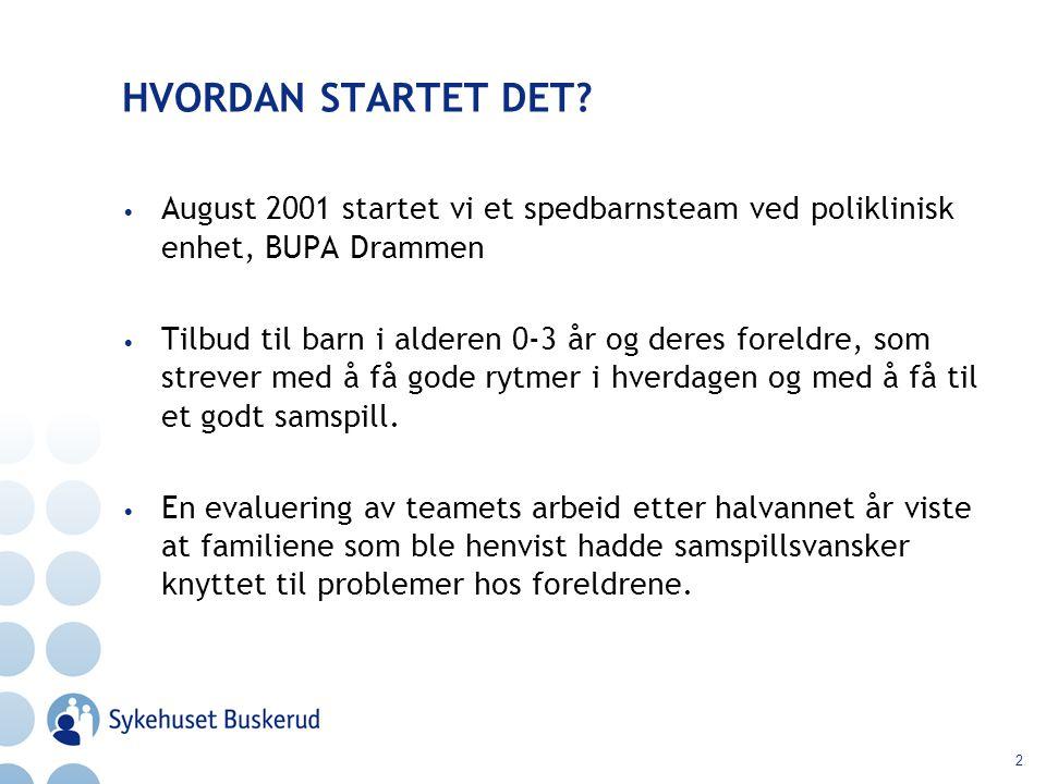 HVORDAN STARTET DET August 2001 startet vi et spedbarnsteam ved poliklinisk enhet, BUPA Drammen.