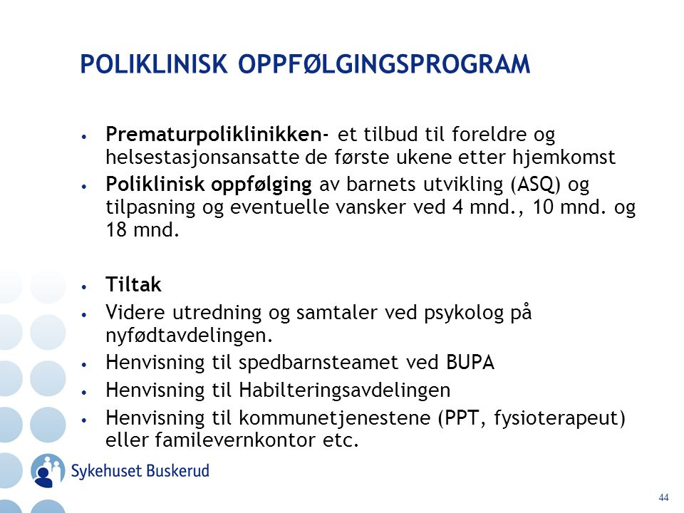POLIKLINISK OPPFØLGINGSPROGRAM