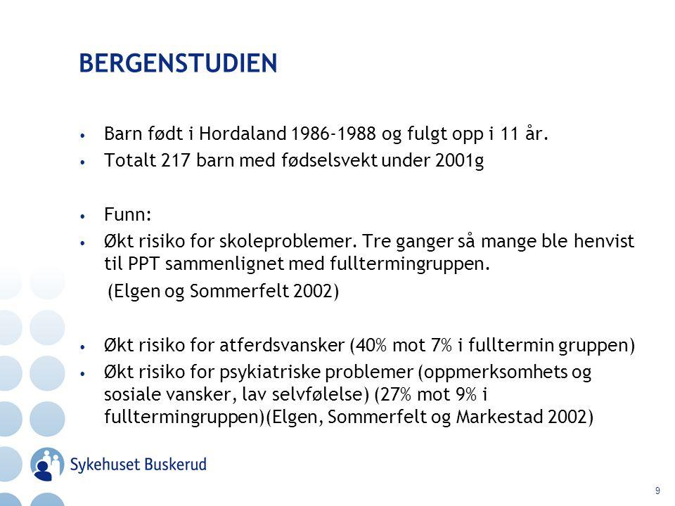 BERGENSTUDIEN Barn født i Hordaland 1986-1988 og fulgt opp i 11 år.