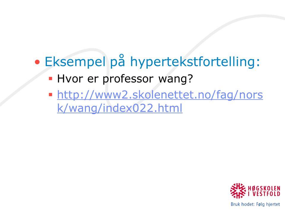 Eksempel på hypertekstfortelling: