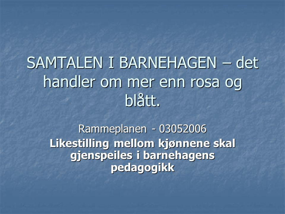 SAMTALEN I BARNEHAGEN – det handler om mer enn rosa og blått.