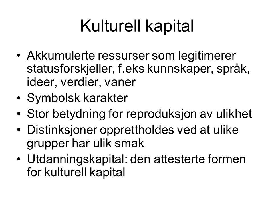 Kulturell kapital Akkumulerte ressurser som legitimerer statusforskjeller, f.eks kunnskaper, språk, ideer, verdier, vaner.