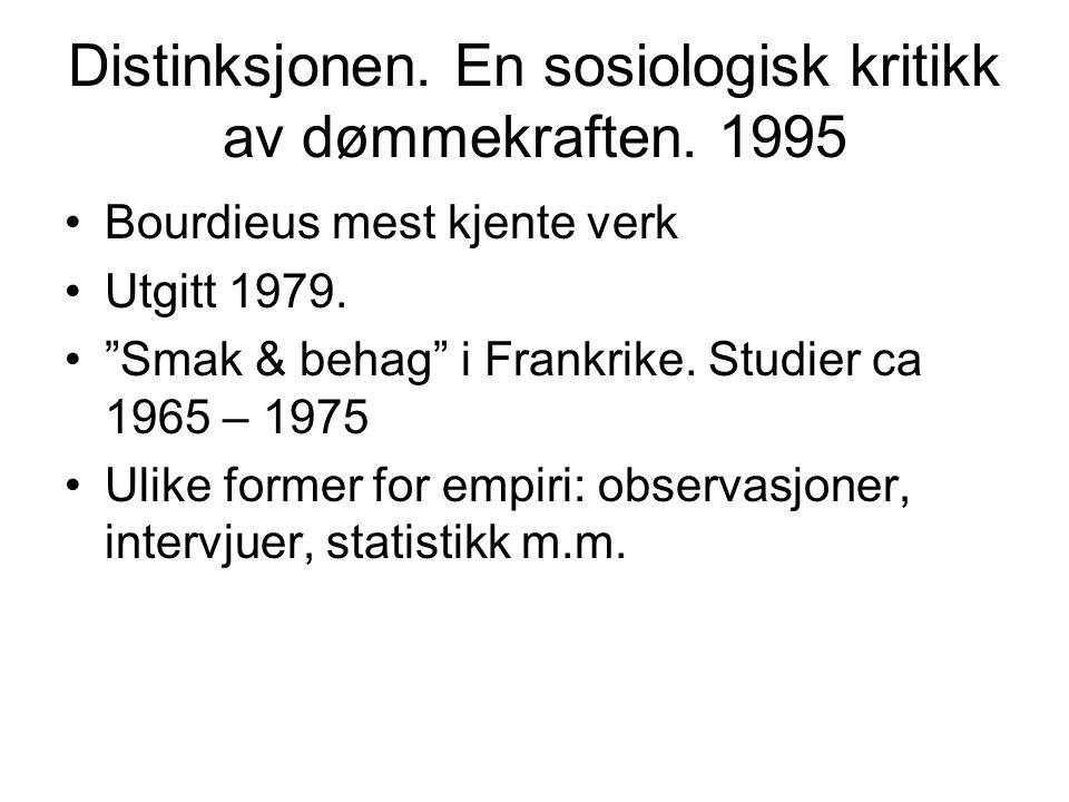 Distinksjonen. En sosiologisk kritikk av dømmekraften. 1995
