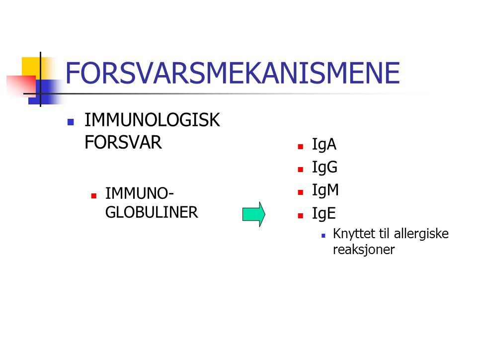 FORSVARSMEKANISMENE IMMUNOLOGISK FORSVAR IgA IgG IgM IMMUNO-GLOBULINER