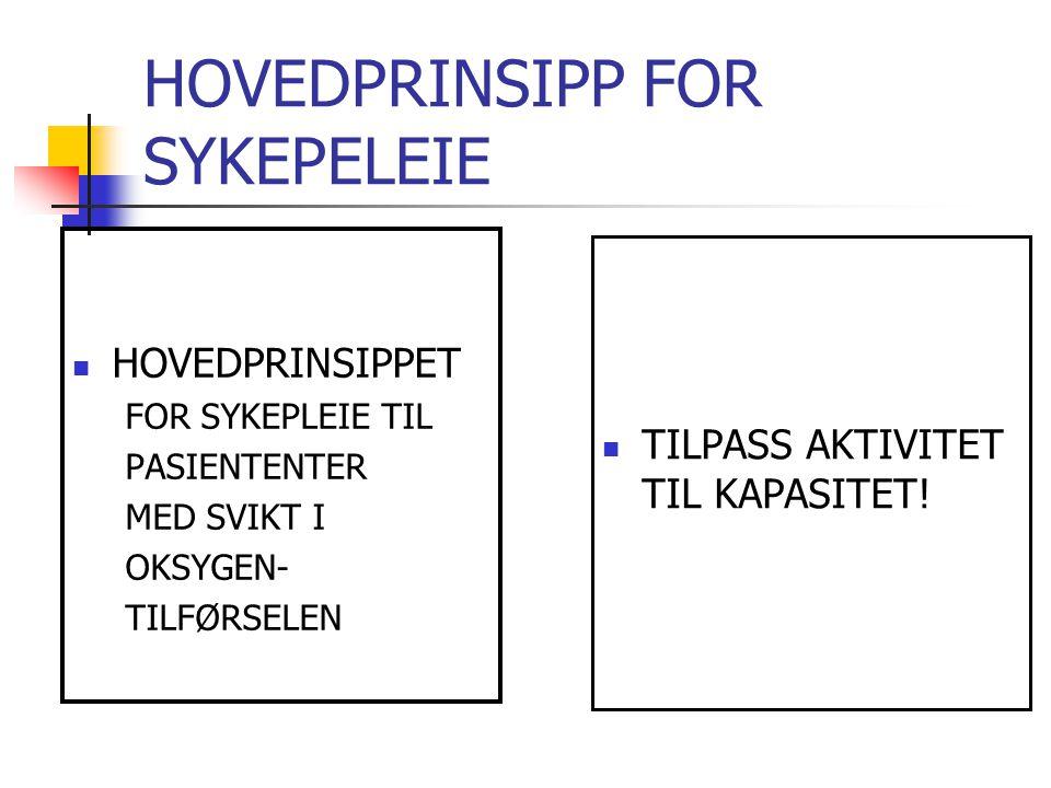HOVEDPRINSIPP FOR SYKEPELEIE
