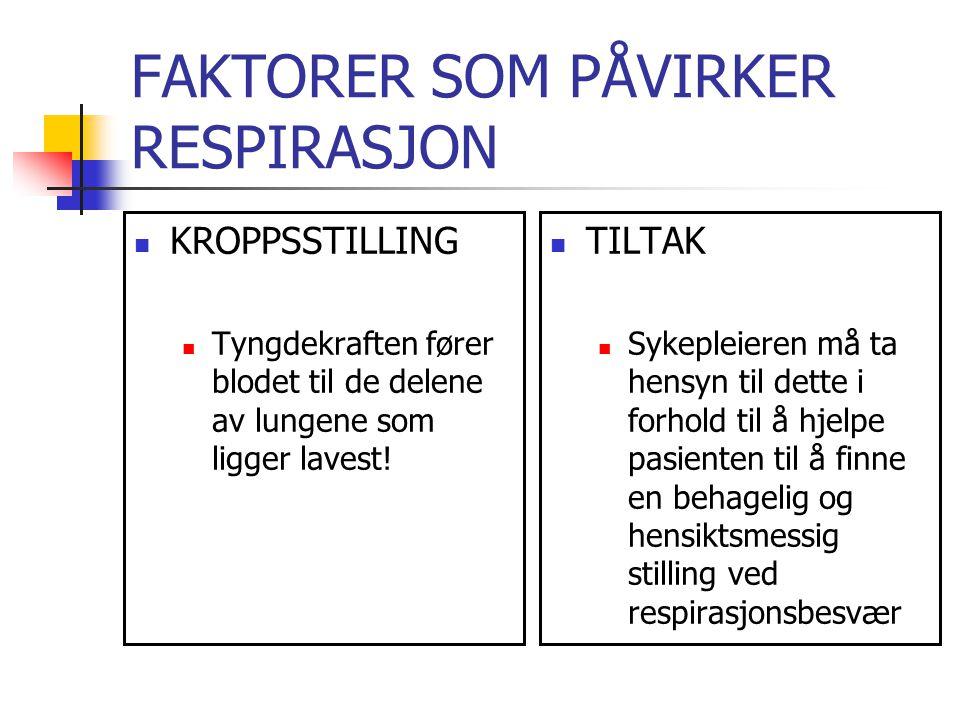 FAKTORER SOM PÅVIRKER RESPIRASJON