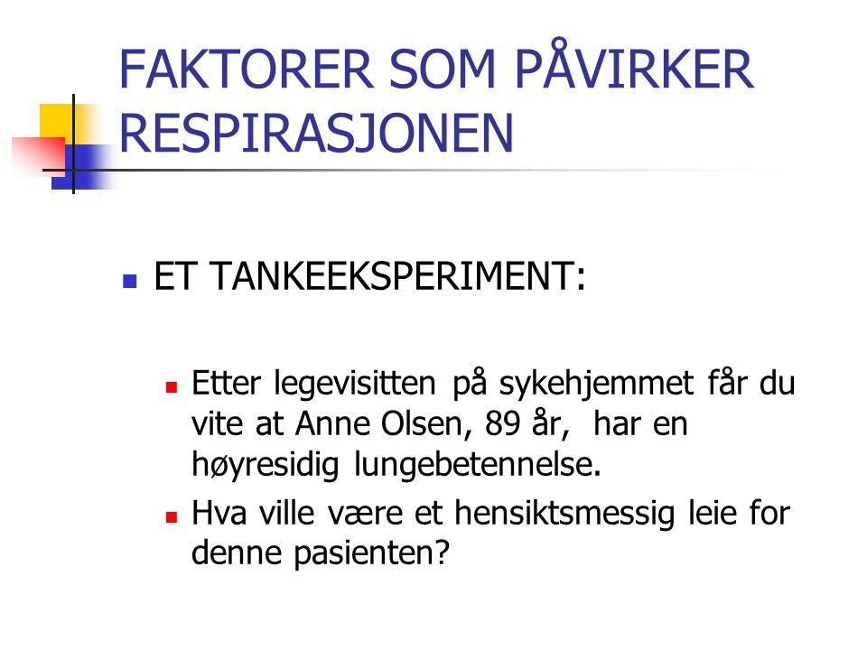 FAKTORER SOM PÅVIRKER RESPIRASJONEN