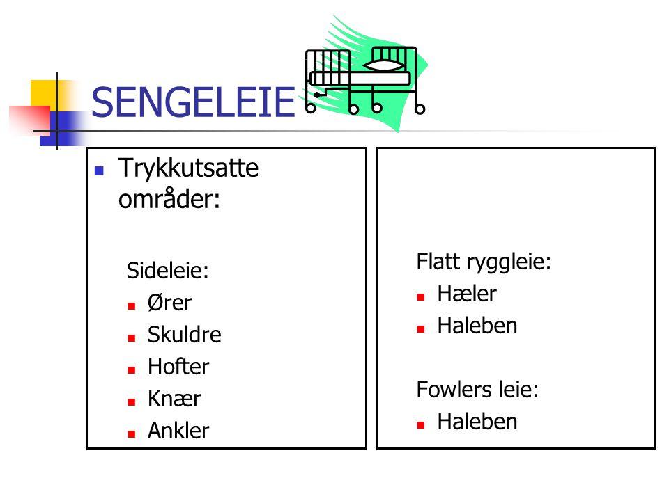 SENGELEIE Trykkutsatte områder: Flatt ryggleie: Sideleie: Hæler Ører