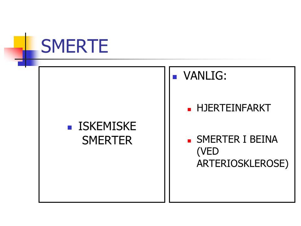SMERTE VANLIG: ISKEMISKE SMERTER HJERTEINFARKT