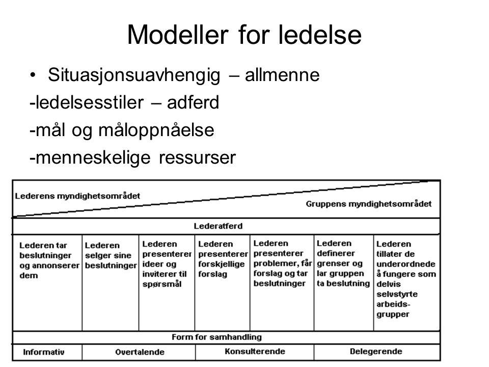 Modeller for ledelse Situasjonsuavhengig – allmenne