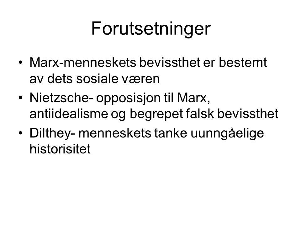 Forutsetninger Marx-menneskets bevissthet er bestemt av dets sosiale væren.
