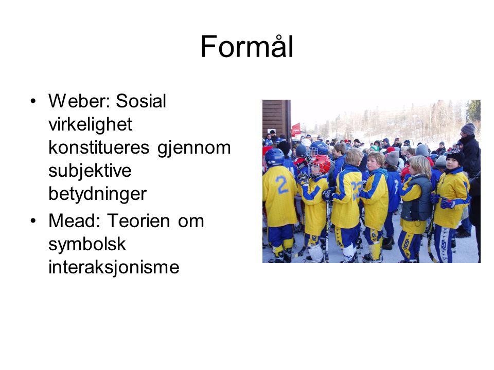 Formål Weber: Sosial virkelighet konstitueres gjennom subjektive betydninger.