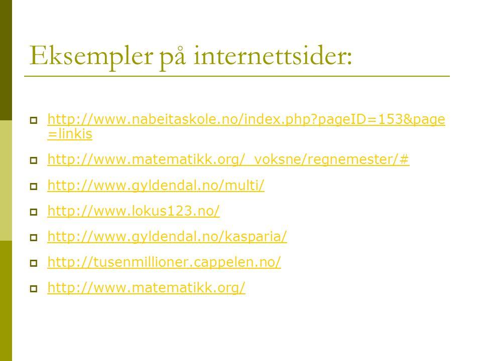 Eksempler på internettsider: