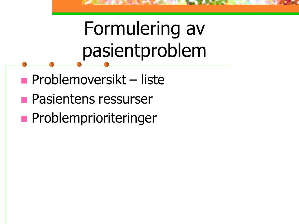 Formulering av pasientproblem