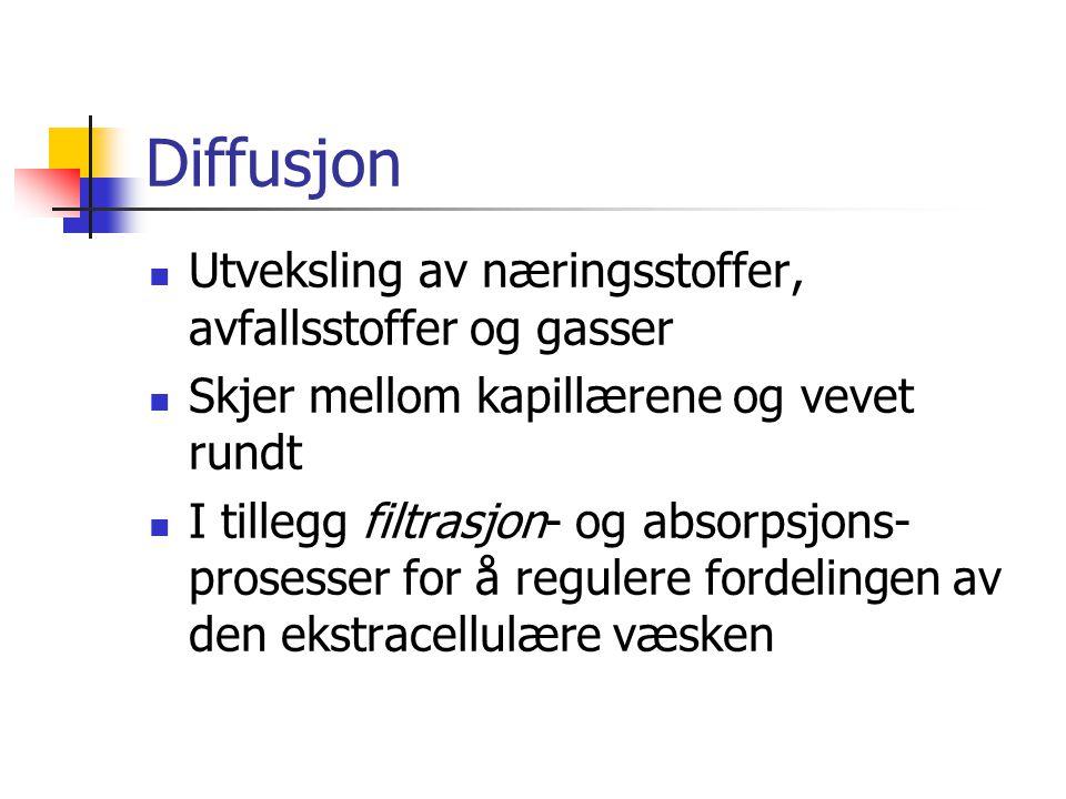 Diffusjon Utveksling av næringsstoffer, avfallsstoffer og gasser