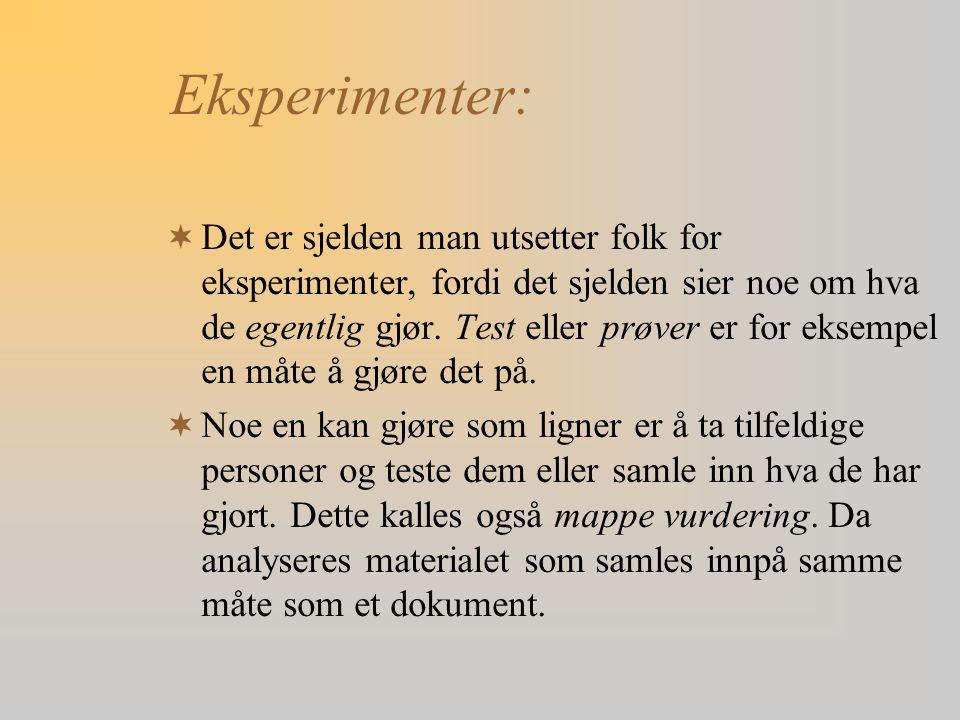 Eksperimenter: