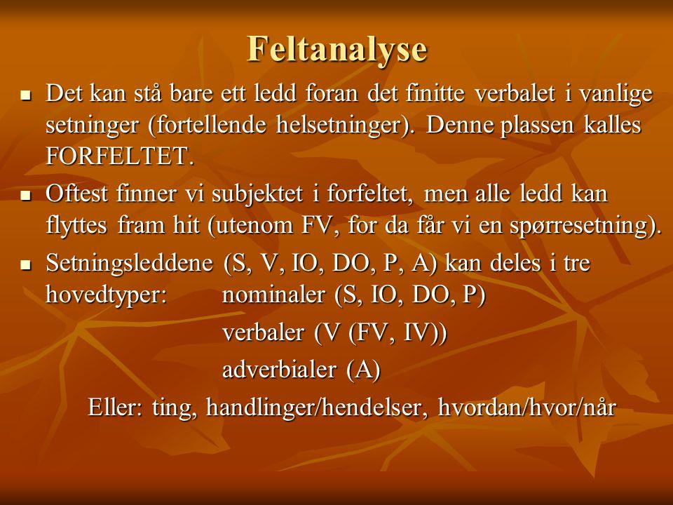 Feltanalyse Det kan stå bare ett ledd foran det finitte verbalet i vanlige setninger (fortellende helsetninger). Denne plassen kalles FORFELTET.