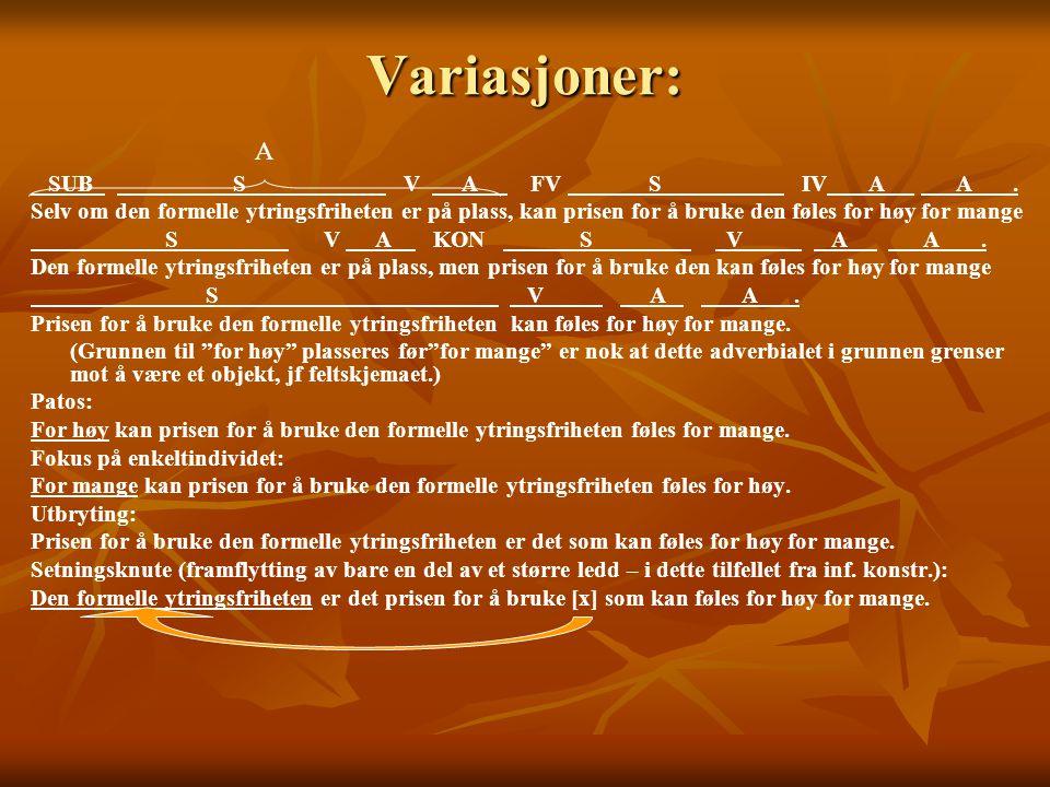 Variasjoner: A SUB S V A FV S IV A A .