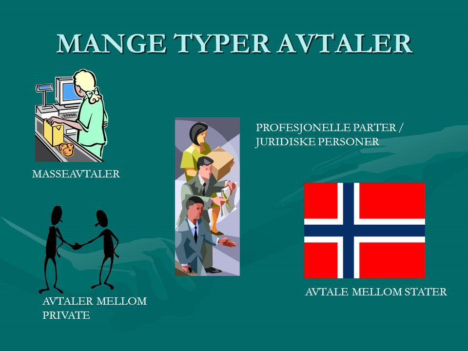 MANGE TYPER AVTALER PROFESJONELLE PARTER / JURIDISKE PERSONER