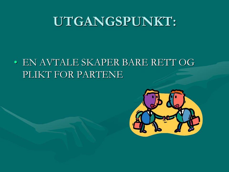 UTGANGSPUNKT: EN AVTALE SKAPER BARE RETT OG PLIKT FOR PARTENE