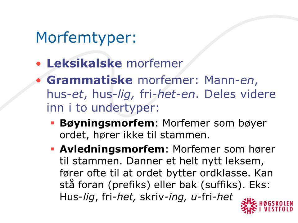 Morfemtyper: Leksikalske morfemer