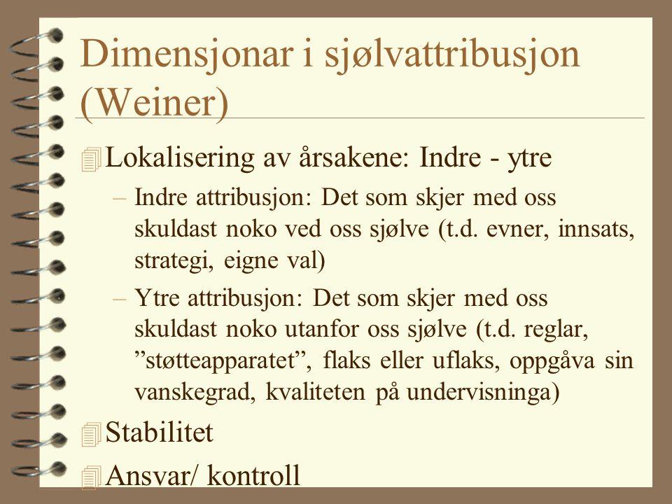 Dimensjonar i sjølvattribusjon (Weiner)