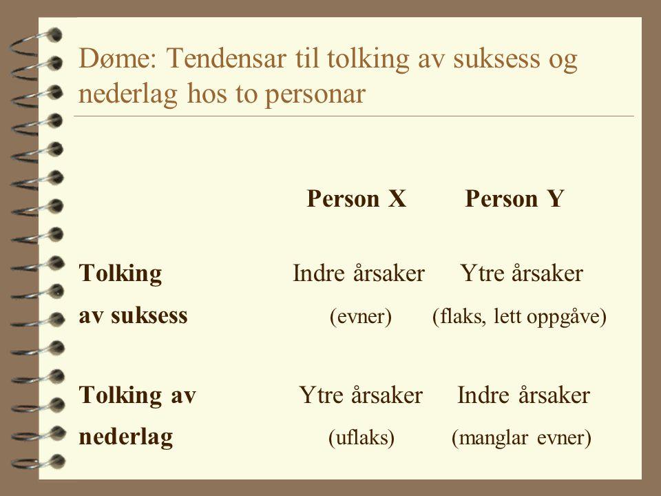 Døme: Tendensar til tolking av suksess og nederlag hos to personar