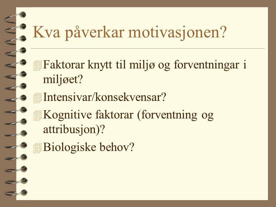 Kva påverkar motivasjonen