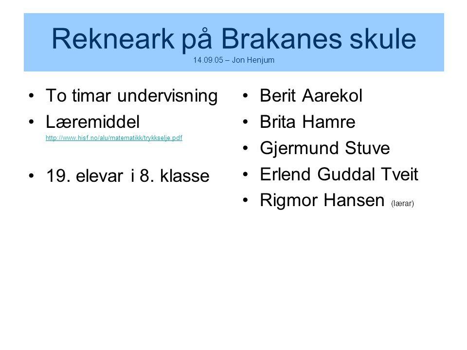 Rekneark på Brakanes skule 14.09.05 – Jon Henjum