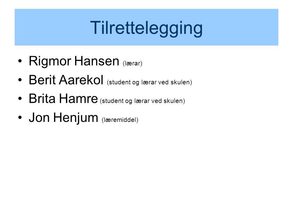 Tilrettelegging Rigmor Hansen (lærar)