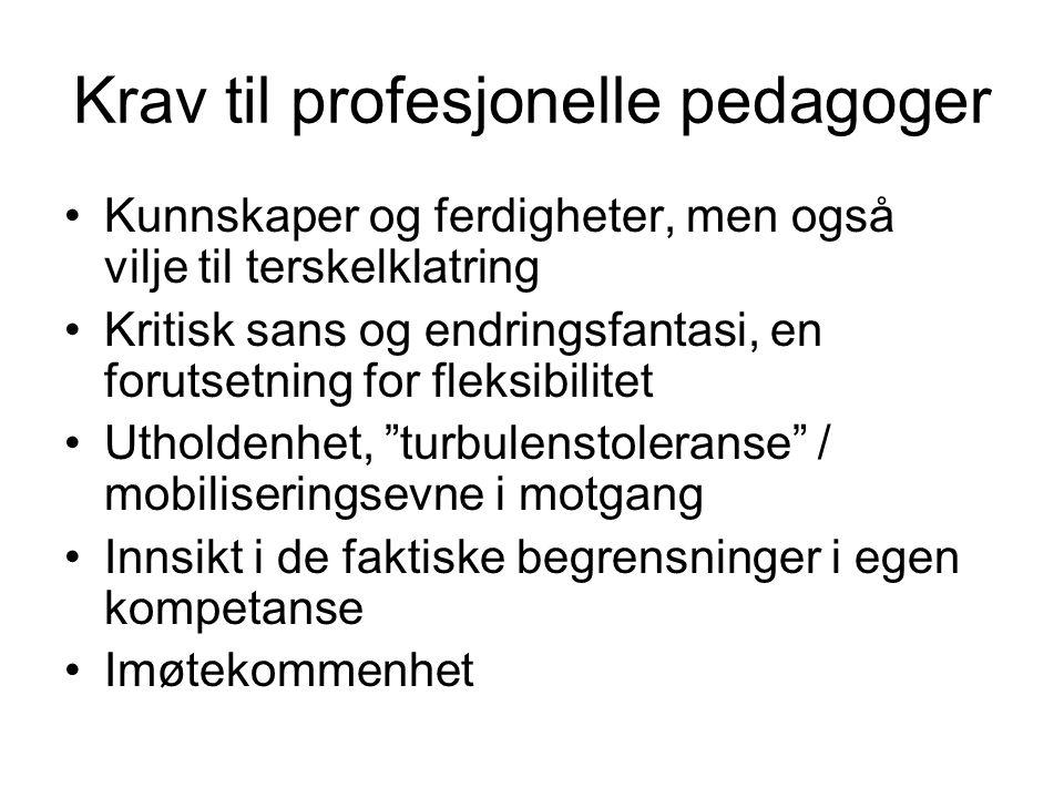 Krav til profesjonelle pedagoger