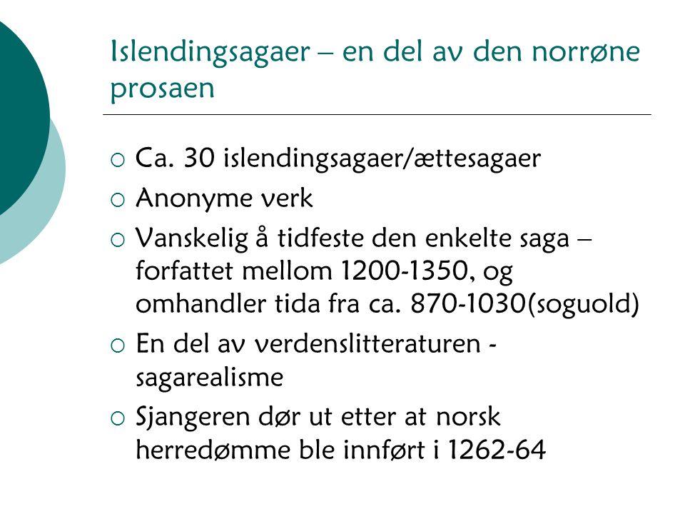 Islendingsagaer – en del av den norrøne prosaen