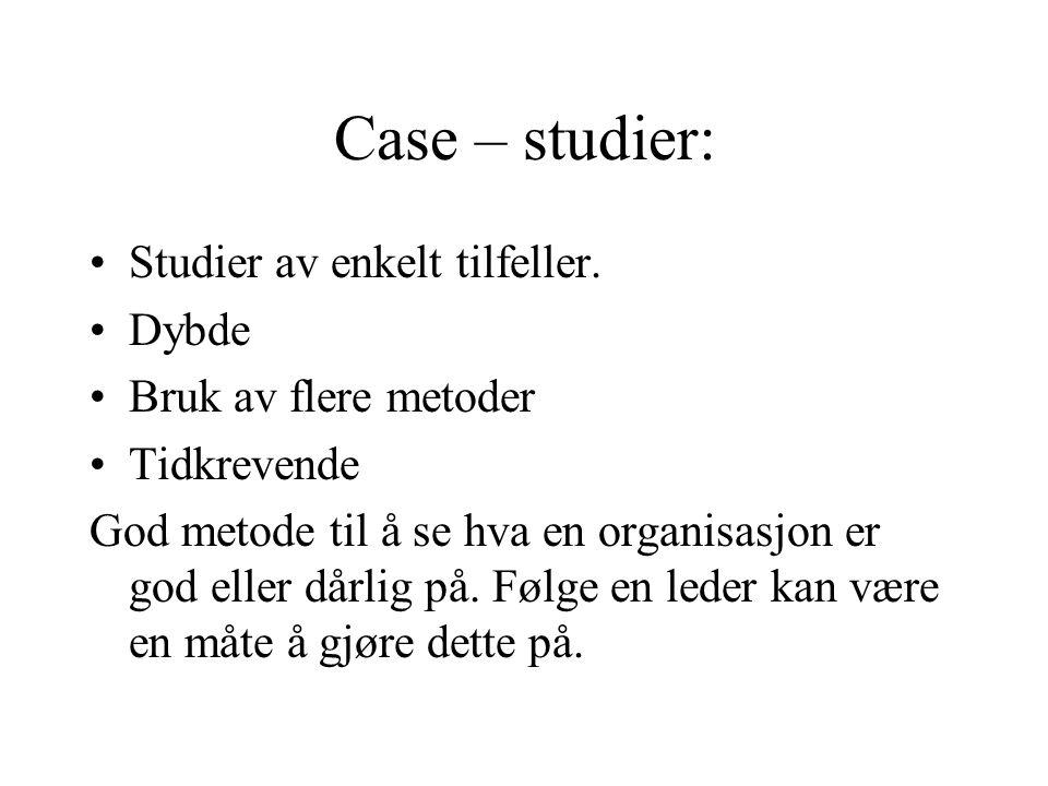 Case – studier: Studier av enkelt tilfeller. Dybde