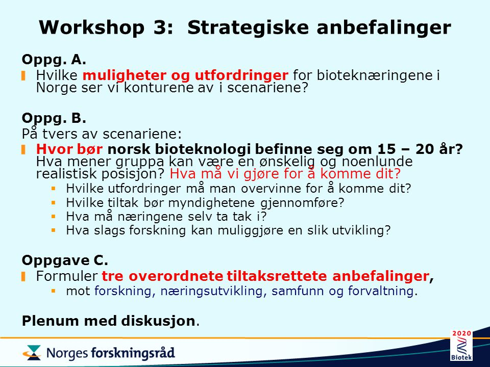 Workshop 3: Strategiske anbefalinger