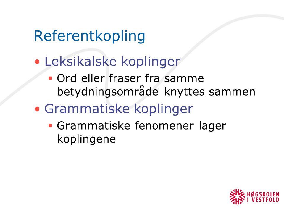 Referentkopling Leksikalske koplinger Grammatiske koplinger