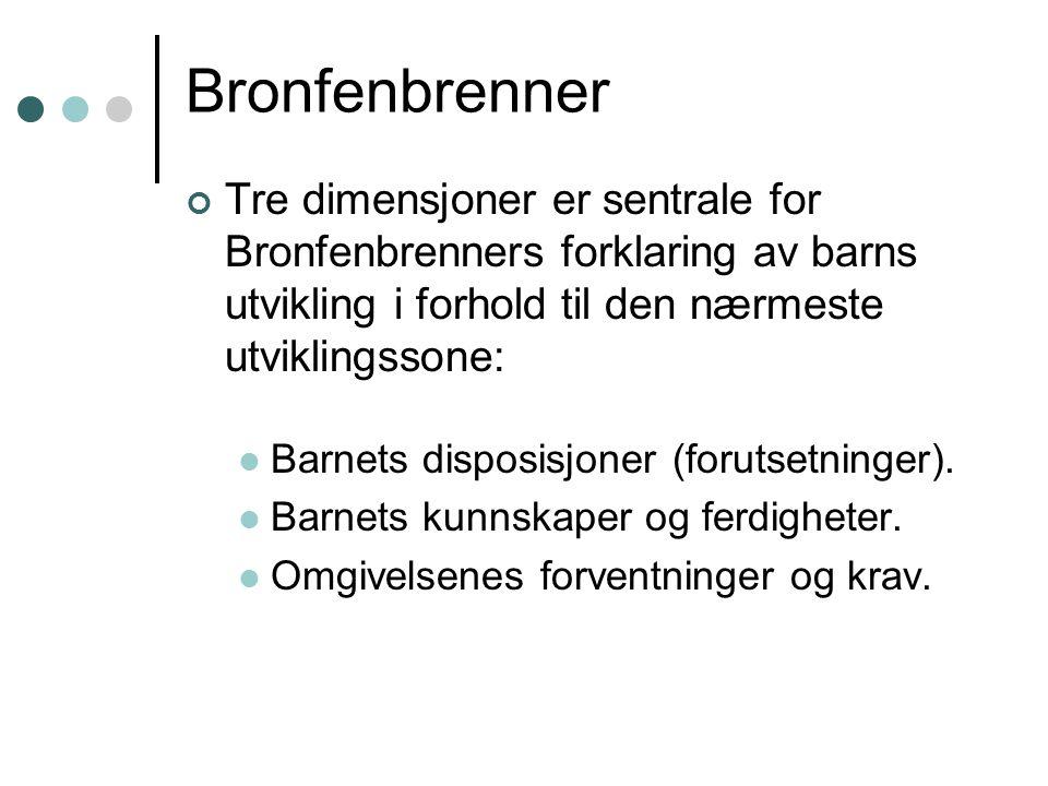Bronfenbrenner Tre dimensjoner er sentrale for Bronfenbrenners forklaring av barns utvikling i forhold til den nærmeste utviklingssone: