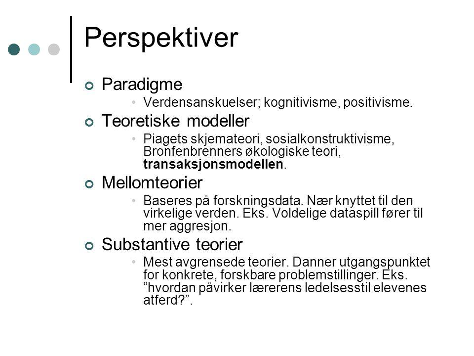 Perspektiver Paradigme Teoretiske modeller Mellomteorier