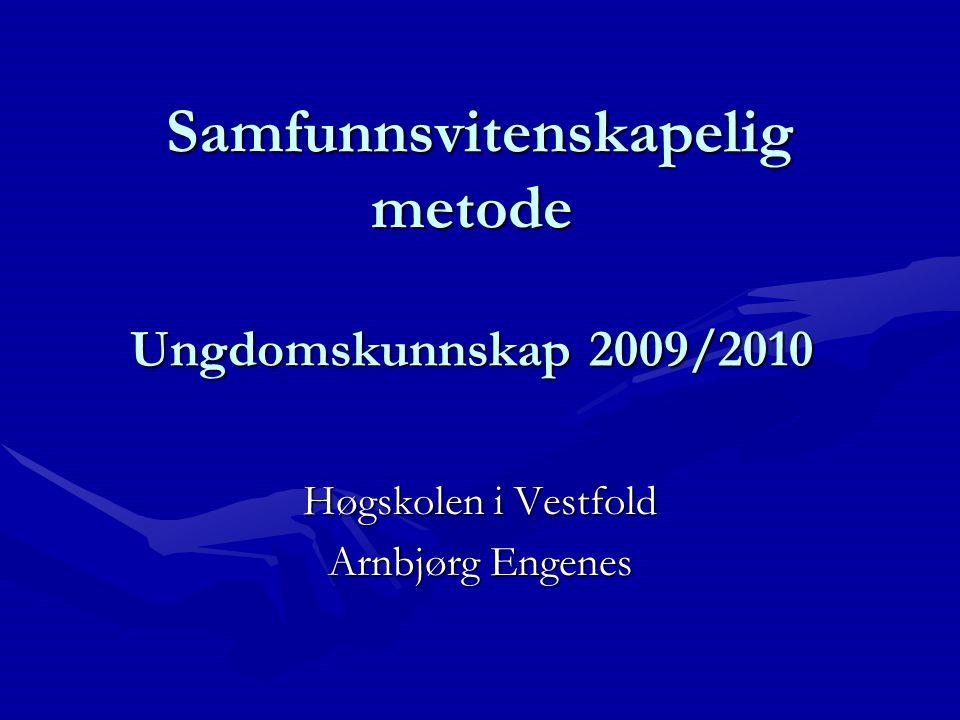 Samfunnsvitenskapelig metode Ungdomskunnskap 2009/2010