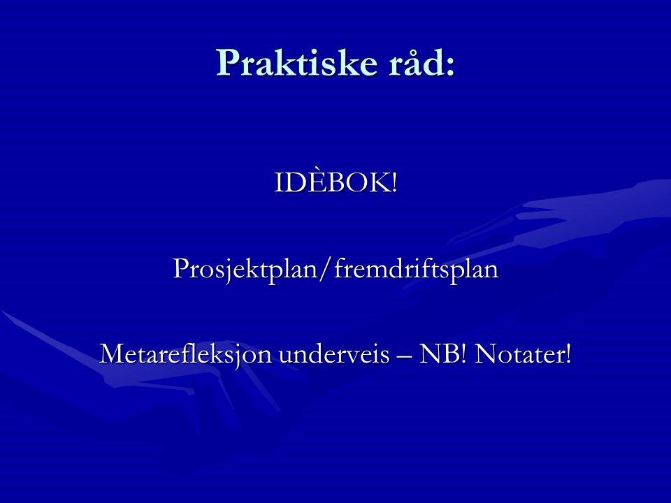 Praktiske råd: IDÈBOK! Prosjektplan/fremdriftsplan