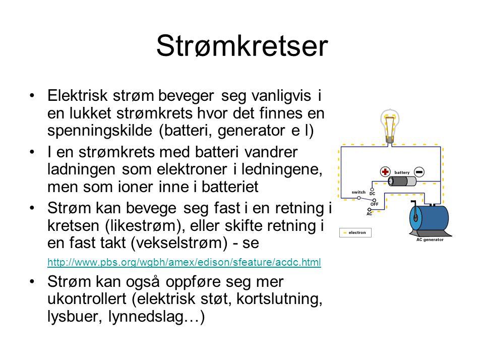 Strømkretser Elektrisk strøm beveger seg vanligvis i en lukket strømkrets hvor det finnes en spenningskilde (batteri, generator e l)
