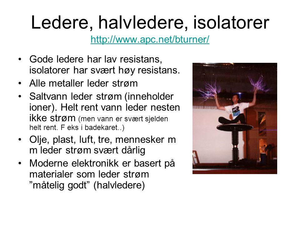 Ledere, halvledere, isolatorer http://www.apc.net/bturner/