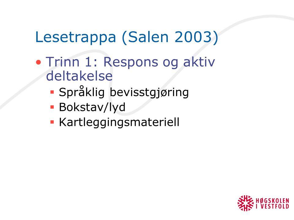 Lesetrappa (Salen 2003) Trinn 1: Respons og aktiv deltakelse