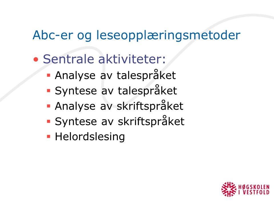 Abc-er og leseopplæringsmetoder