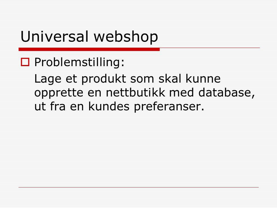 Universal webshop Problemstilling: