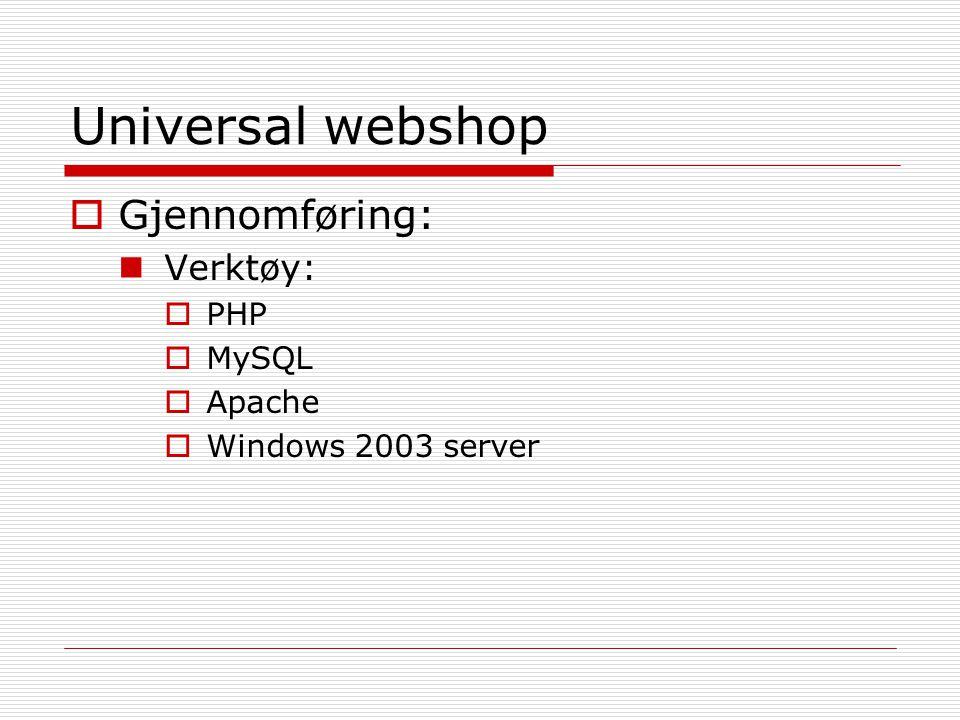 Universal webshop Gjennomføring: Verktøy: PHP MySQL Apache