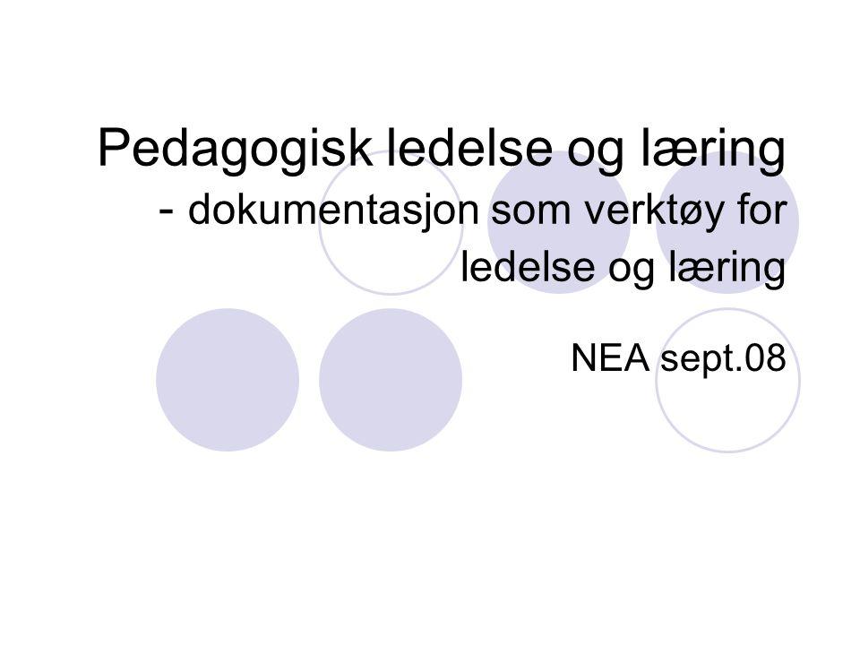 Pedagogisk ledelse og læring - dokumentasjon som verktøy for ledelse og læring